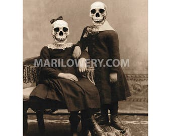 Halloween Wall Decor, Skull Art Print, 8.5 x 11 Inch Print, Creepy Wall Art, Victorian Children, Horror Decor
