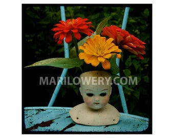 Surreal Photography, 5x5 Inch Print, Small Wall Art, Vintage Doll Head, Floral Decor, Colorful Art, frighten