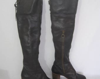 FIORENTINI + BAKER thick brown leather VINTAGE knee high boots size 37 made italy