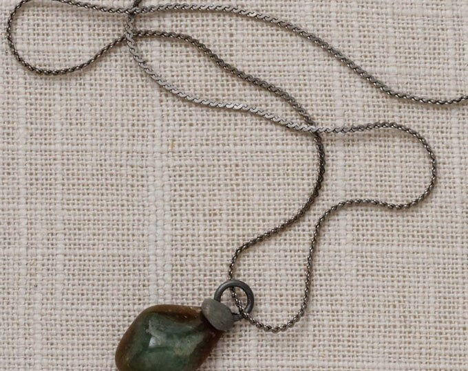 Green Brown Stone Necklace Vintage Silver Rock Chain Costume Jewelry 7L