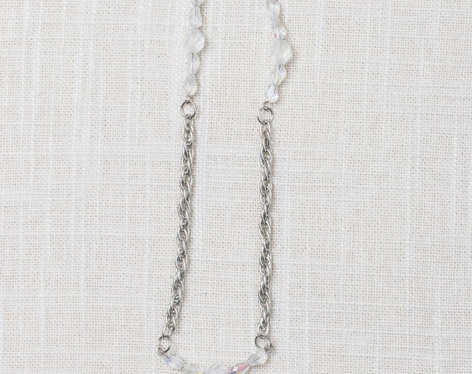 Handcrafted Necklace Silver Rope Chain Clear Multi Faceted Shimmery Beads 7HH