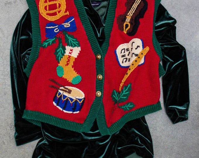 Ugly Christmas Sweater Vest + Green Velvet Top 2 Piece Outfit | Winter Holiday Cardigan Jumper 7CF