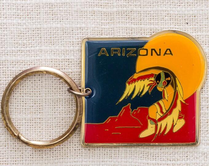 Arizona Vintage Keychain Native American Desert Moon Tribal Key FOB Brass Key Chain 7KC