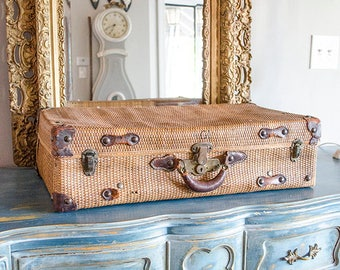 Antique French Wicker Suitcase, Monogrammed, Fabulous Find, Leather and Brass