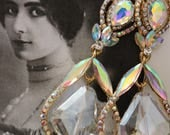 Iridescent chandelier earrings wedding dress flapper vintage inspired
