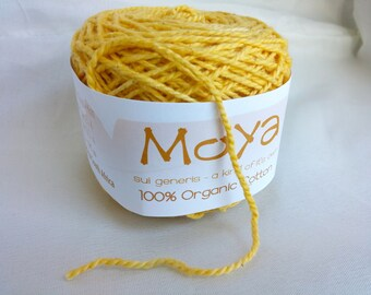 Moya Canary Yellow Hand Dyed, Organic Cotton, DK Weight Yarn, 147 Yards, Lot 4 Y018