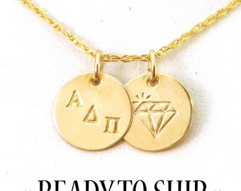 Gold Alpha Delta Pi Diamond Necklace - ADPi Gold Diamond Sisters Necklace - ADPi Big Little - Officially Licensed - Big Little Sorority