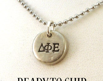 Delta Phi Epsilon Pewter Pebble Necklace - DPhiE Necklace - Official Licensed Product for Delta Phi Epsilon