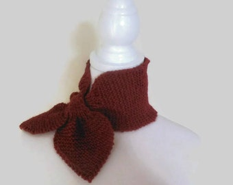 Pure Wool, Alpaca And Acrylic Bow Tie Scarf Red Rust