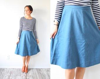 Vintage 1950's full blue skirt // summer fall XS small retro full skirt // modest skirt // 60's skirt // short midi // boho summer spring