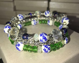 Hand-crafted Green and blue Floral Memory Wire Bracelet