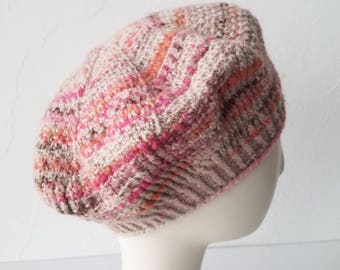 Hand Knit Twirling Twill Beret in Pink Cloud Mix – Adult One Size
