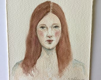 Original Watercolor Portrait 5 in x 5.5 in