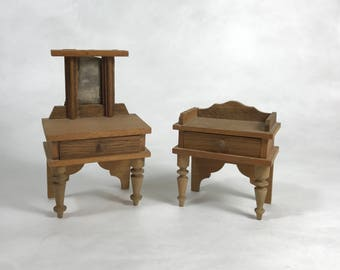 Vintage Wooden Doll Vanity and Washstand Dollhouse Furniture