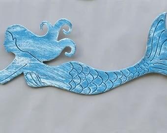Wood Mermaid Starfish Beach House Nautical Ocean Distressed Coastal Wall Decor Sign