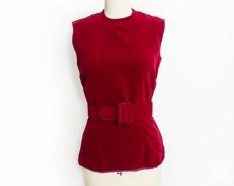 Vintage 1960s Blouse - Burgundy Velvet Sleeveless Fitted Shell Top - Medium