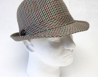 Fedora Hat Tan Plaid Mens Trilby Stingy Brim