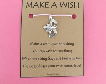 Masquerade Prom Ball Mask Wish String Friendship Bracelet Cord Band Charm Karma Wishes Magical Amulet Designed and Made by Kate Dengra Spain