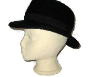 70s Black Hat, Knit Fedora, Womans Fedora, 1970s Dress Hat, Black Winter Hat, Black Knit Fedora, Soft Black Fedora, Made in Italy,