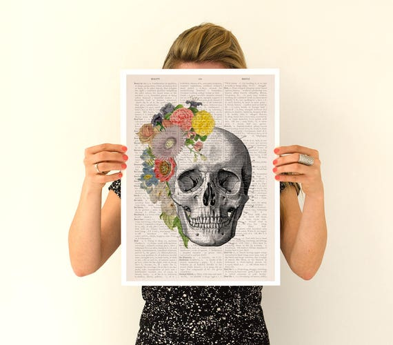 Flowers on skull detail Poster, anatomical art, Flowers anatomy poster ,science art , gifts for him, doctor SKA138PA3