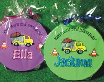 Personalized Tambourine / Construction Themed Party / Dump Truck / Music Party / Personalized & Gift Wrapped Tambourine