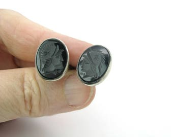 Sterling Silver Cuff Links. Mens Cufflinks. Classical Roman Soldier, Carved Black Onyx Intaglio. Italian Mark. Vintage 1940s Italy Jewelry