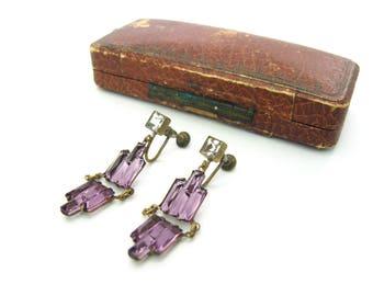 Art Deco Earrings. Geometric Amethyst Czech Step Glass. Square Cut Paste. Antique Dangle Screw Backs. Czechoslovakia. Vintage 1920s Jewelry
