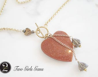 Goldstone heart fob, antique heart necklace, Two Girls Gems