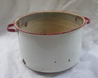 Rusty Crusty Enamel Pot Large Rustic Stock Pot
