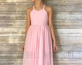 Midi flower girl dress - Blush dress - Midi chiffon dress - Long chiffon toddler dress - Full skirt flower girl dress - blush flower girl -
