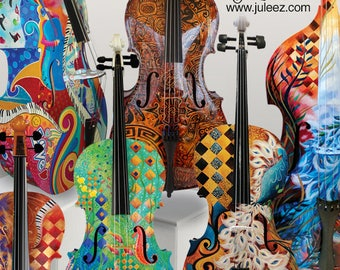 Colorful Cello, Hand Painted Cello, Music Decor, Custom Painted Musical Instrument, Cellist Gift, Hand Painted Music by Juleez FREE SHIPPING