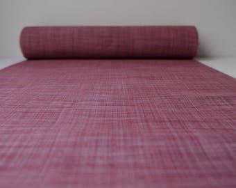 Vintage Silk Kimono Fabric unused bolt by the yard Raspberry sorbet plaid Tsumugi weave pattern 100% silk OFF the bolt