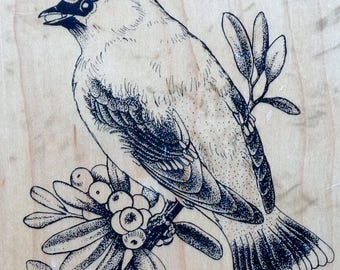 Rubber Stamp | PSX | CEDAR WAXWING | Bird | K-2144 | Berries | Personal Stamp Exchange | Rare | Wood Mounted Rubber Stamp | Flower | Floral