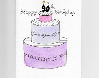 90th Birthday Card PERSONALIZED for FREE 95th Birthday 85th, Any Age Personalized With a Name on a Cake Tier, Original Watercolor Card