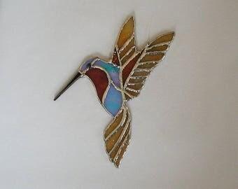 Hummingbird Stained Glass Suncatcher, Wings, Feathers, Home Decor, Decorative Hummer, Glass Wings, Handmade Hummingbirds, Gift Idea