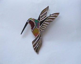 Ruby Red Throat Hummingbird, Stained Glass Suncatcher, Glass Wings, Handmade Hummer, Decorative, Art & Collectibles, Glass Art, Window Decor