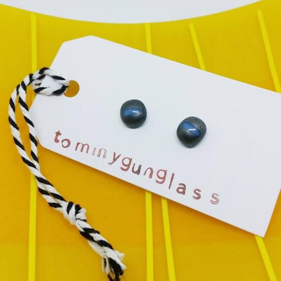Gray & White Stripe Glass Stud Earrings