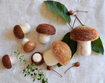 Needle Felted Cep Mushrooms - 7 pieces Play Food Set, Needle Felted Mushroom, Felted Food Toy, Waldorf Toy,Birthday gift, home decoration