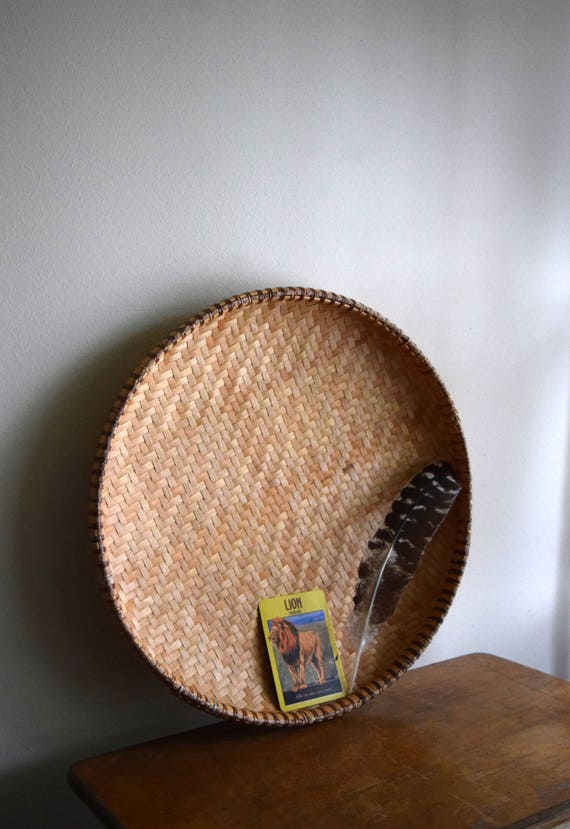 Large Vintage Hand Woven Round Bamboo Wall Basket -  Bohemiam, Farmhouse, Natural, Eclectic