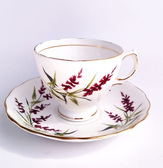Vintage Colclough Bone China Tea Cup and Saucer Set in White with Simple Red Floral Design