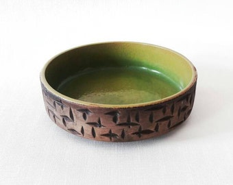 Mid-century German Stoneware Pottery Dish Trinket Bowl Handmade in Green and Brown