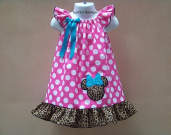 Minnie Mouse Dress / Pink Polka Dots & Cheetah / Aqua Sequins / Disney / Birthday / Newborn / Infant / Baby / Girl / Toddler / Boutique