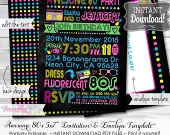 Awesome 80s Invitation - INSTANT DOWNLOAD - partially Editable & Printable Neon, Eighties, Retro, Any Age Birthday Party Invite