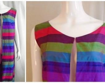 Vintage 1960s Maxi Vest Striped Silk Open Sides Large Mod