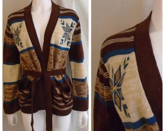 Vintage 1970s Sweater Hippie Belted Long Cardigan Brown Space Dyed Belled Sleeves Large