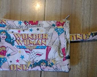 Superhero zip wallet, make up purse, pouch, travel, loop handle, carrier, wrist strap - Wonderwoman