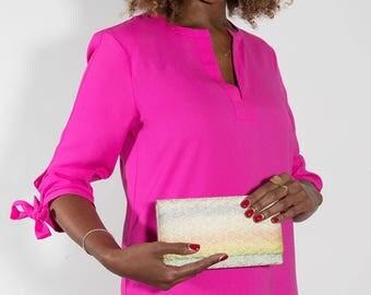 Rainbow Folded Clutch Bag, Metallic Envelope Clutch, Gold Folded Clutch Purse, Kimono Silk Womens Wallet, Vintage Evening Bag, Wedding Bags