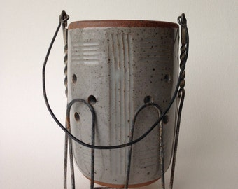Wheel Thrown Stoneware Pottery Luminary, Patio Light, Garden Light, Tea Light, Limestone Clear (Grey) Glaze, Wire Holder, Gift