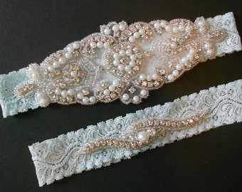 Wedding Garter Set Stretch Lace Ivory, Mint, White 3 Colors  Bridal Garter Set With Classic Pearls and Rhinestones Bridal Garter Set.