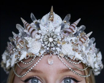 The CRYSTAL TEARDROP Mermaid Crown with Swarovski Crystal / headband / headdress